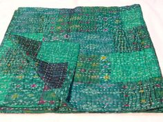 This handmade Throw Kantha Quilt is made of 100% Old Cotton Recycled Fabric with three layers of sarees together with thousands of small and delicate Fine Kantha stitches, Hand crafted softly quilted by artisans in India.   eBay!