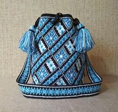 Crochet Large Multi-Colored Wayuu tecnique Mochila Bag, woven beach bag ,crossbody bag, bucket bag crossbody sac boho bag,sports bag