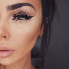 ♡ On Pinterest @ kitkatlovekesha ♡ ♡ Pin: Makeup ~ Eyebrows, Winged Eyeliner, Long Lashes & Pink Lips ♡