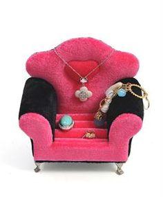 Black & Hot Pink Velvet Jewelry Keepsake Arm Chair JDP1008