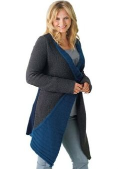 Taillissime Plus Size Colorblock Flyaway Sweater Cardigan Charcoal Blue,2X Taillissime. $27.54
