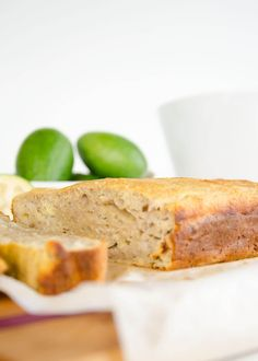 Feijoa and Almond Loaf Uses Lots of Feijoas! - Feijoa almond loaf, a feijoa recipe for a moist loaf similar to banana bread, low in sugar and deli - Cake Recipes, Snack Recipes, Dessert Recipes, Snacks, Pineapple Guava, Ground Almonds, No Bake Desserts, Deli, Banana Bread