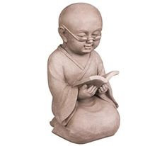 STONE-LITE 21 x 20 x 34 cm Medium Figure of Shaolin Monk Reading a Book - Light Grey