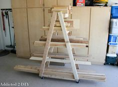 Free and easy DIY plans showing you how to build a portable lumber rack using only seven 2x4s. Perfect for storing all your scrap lumber.