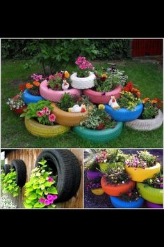 Tire garden - DIY Recycle and Reuse Garden Projects That Will Blow Your Mind – Tire garden Tire Garden, Garden Planters, Outdoor Planters, Old Tire Planters, Easy Garden, Balcony Garden, Recycled Planters, Garden Ideas Diy Cheap, Recycled Garden Art