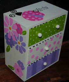 Painted Jewelry Box Personalized Gift Flower by TheDecorativeBrush, Funky Painted Furniture, Paint Furniture, Kids Furniture, Furniture Makeover, Ladybug Room, Kids Jewelry Box, Girls Jewelry, Painted Jewelry Boxes, Custom Jewelry Design