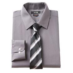 Men's Apt. 9® Slim-Fit Dress Shirt & Tie Set, Size: M-34/35, Other Clrs
