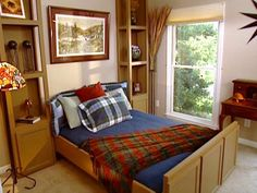 Construct a hideaway guest bed with side shelf units.