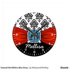 Damask Red Ribbon Blue Diamond Monogram And Name Round Wallclock