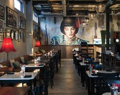 Mural and intriguing painted background at the Mama San restaurant in Bali. Photographer: David Burden.