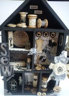 Great idea to display some cute sewing notions. Great idea to display some cute sewing notions. Sewing Room Decor, My Sewing Room, Sewing Box, Sewing Rooms, Sewing Notions, Altered Boxes, Altered Art, Shadow Box, Home And Deco