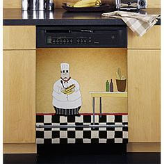 @Overstock - The details of any design are what make your personal decorating style come through, and this 23.5' x 26' magnetic dishwasher cover from Appliance Art proves it. It features a theme that's perfect for those whose pride lies in their cooking skills.http://www.overstock.com/Home-Garden/Appliance-Art-Chef-Dishwasher-Cover/5306255/product.html?CID=214117 $45.49