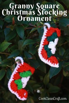 Cook Clean Craft - How to crochet a Granny Square Crochet Christmas stocking ornament with free pattern. Cute little ornament for the Christmas tree (or make into bunting for the mantle). They even fit a packet of Lifesavers! Crochet Christmas Stocking Pattern, Crochet Stocking, Crochet Christmas Decorations, Christmas Tree Pattern, Crochet Christmas Ornaments, Holiday Crochet, Christmas Knitting, Christmas Stockings, Christmas Ideas