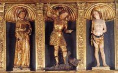 Altare di San Michele o della Scuola dei Boccalieri Autore: Anonimo scultore veneto Secolo: XV° Chiesa: Basilica di Santa Maria Gloriosa dei Frari a Venezia DATA: fine del XV secolo COLLOCAZIONE: cappella di San Michele