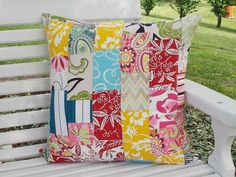 Indoor / Outdoor Pillow Cover  Patch Work by InFullBloomCo on Etsy, $70.00