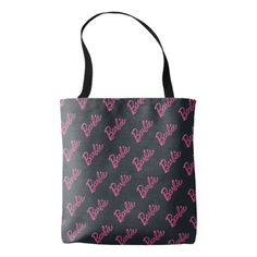 Barbie Logo on Black Pattern Tote Bag