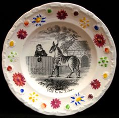 """I thought the zebra on my transferware child's plate, """"Visit to the Zebra,"""" had the wrong amount of stripes. It's not as if I am a zebra ex. Antique China, Vintage China, Childrens Mugs, Baby Dishes, Pottery Gifts, Floral Border, Zebras, Vintage Children, Kids Playing"""