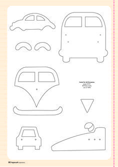 Free card making templates from Papercraft Inspirations 123 carros kombi e fusca Felt Patterns, Applique Patterns, Applique Designs, Sewing Patterns, Applique Templates Free, Card Making Templates, Patchwork Quilting, Quilts, Felt Ornaments