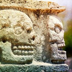 Stone Skulls Photograph Mexico Maya photography by ZenzPhotography,