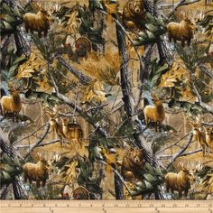 Realtree Flannel Forest Animals Multi from @fabricdotcom  From Realtree for Fabrique Innovations, Inc., this soft, single napped (brushed on face side only) flannel fabric is perfect for quilting and apparel. Colors include gold,  green, grey, black and shades of brown.