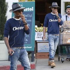 Pharrell Williams in Chanel Limited Edition Sweatshirt Hand-painted by Karl Lagerfeld
