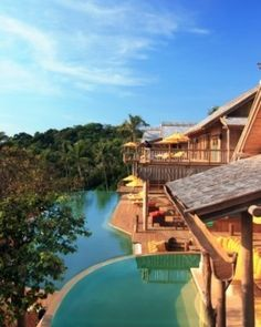 Thailand - Soneva Kiri, The accommodations blend into the resort's rain forest setting; here's a Cliff Villa. #Jetsetter