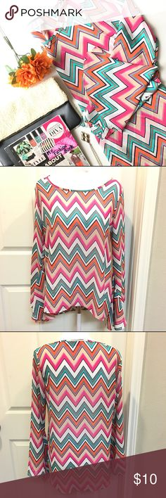 Long Flare Out 70's Style Sleeve Blouse •Long Sleeve with flare out 70's style sleeves •Striped with various colors (pink, orange, white, blue) •Krishna Boutique brand •Size Medium •Sheer material...100% Polyester  •Gently used, great condition Krush Tops Blouses