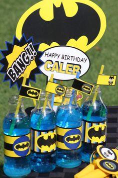 BATMAN Party Bottle Labels - Superheroes Party - Boys Birthday Party  - Super Hero - Batman Centerpiece - Krown Kreations. $3.99, via Etsy.