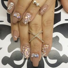 Blinged out nude coffin nails