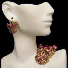 HEAVENLY PINK ANGELS! A beautiful vintage angel brooch and earrings set with pretty pink rhinestones, $55.00
