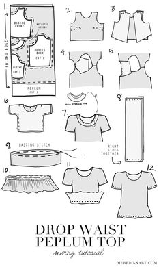 Merrick's Art // Style + Sewing for the Everyday Girl: DIY FRIDAY: GINGHAM DROP WAIST PEPLUM TOP tutorial and pattern