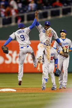 The Dodgers Dee Gordon #9 and Tony Gwynn #10 celebrate the victory over the Phillies  on June 05, 2012.