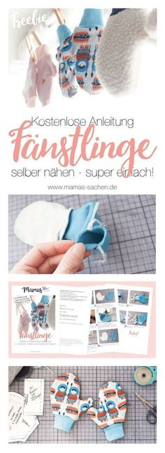 Anleitung für Kinder-Handschuhe – einfach selber maßschneidern Free instructions for fast customized gloves for children, babies and adults. In two variants – easy or lined for turning! Sewing Projects For Beginners, Knitting For Beginners, Knitting Projects, Sewing For Kids, Free Sewing, Hand Sewing, Tricot Simple, Baby Kind, Sewing Hacks