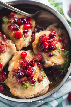 This cranberry chicken is a simple but flavorful dinner recipe that you'll love in the fall and winter! With just a few recipes, this cranberry chicken is so good when you need a fruity flavor but want to keep it quick and easy. Whole30 Dinner Recipes, Fall Dinner Recipes, Paleo Dinner, Fall Recipes, Dinner Ideas, Healthy Recipes, Real Food Recipes, Chicken Recipes, Cooking Recipes