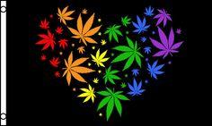 Rainbow Love Marijuana 3' x 5' Pot Flag