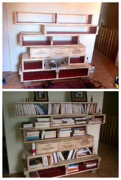Pallet Bookshelves With Wine Boxes #PalletBookshelf, #RecycledPallet, #WineBox