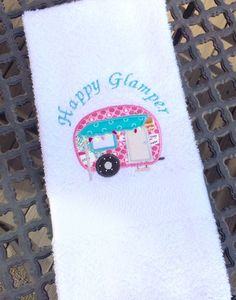 Happy Glamper Hand Towel Happy Camper by MakingSomethingHappy Dorm Ideas, Happy Campers, Hand Towels, Unique Jewelry, Handmade Gifts, Pretty, Vintage, Decor, Kid Craft Gifts