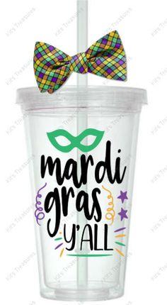 Mardi Gras Y'all - Customized 16oz Tumbler - Personalized gift for her - Personalized vinyl tumbler by DJsPersonalizedHut on Etsy