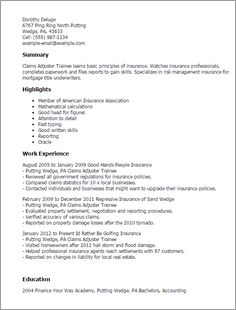 Example Cover Letter For Claims Adjuster Trainee Processor