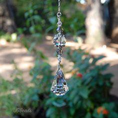 Teardrop Prism Crystal Suncatcher, Rearview Mirror Car Charm, Swarovski Raindrop…