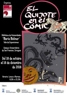 """Exposición """"El Quijote en el cómic"""" en la Biblioteca de Humanidades María Moliner  Del 18 de octubre al 16 de diciembre de 2016. Cartel de la exposición"""