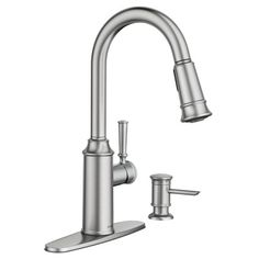 Glenshire Spot resist stainless one-handle high arc pulldown kitchen faucet  -- 87731SRS -- Moen