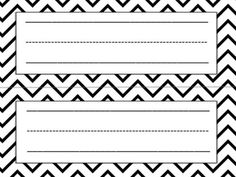 FREE Black and White Name Tags for Desk