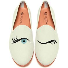 Del Toro Prince Albert Bone Canvas Slipper Loafers With Winking Eye... ($340) ❤ liked on Polyvore featuring shoes, loafers, flats, scarpe, white, del toro loafers, embroidered loafers, loafer shoes, canvas flats and loafer flats