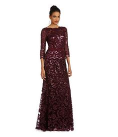 Tadashi Shoji Belted Sequined Lace Gown