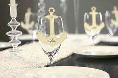 Anchor place cards for a nautical wedding. Love it!