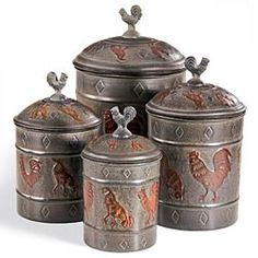 133 Best Rooster Canisters Images Rooster Decor Rooster Kitchen