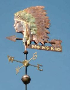 Oct 2012 - Brave (Indian) Bust Weathervane by West Coast Weather Vanes. This unique, handcrafted, custom made Native American bust can be made using copper, brass and optional gold or palladium leafing. West Coast Weather, Storefront Signs, Lightning Rod, Barns Sheds, Weather Vanes, Wind Spinners, Shop Signs, Native American Indians, Rug Making