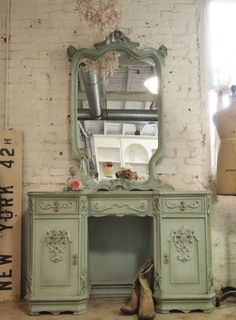 Painted Cottage Chic Shabby Romantic Vanity [VAN60] - $1,095.00 : The Painted Cottage, Vintage Painted Furniture