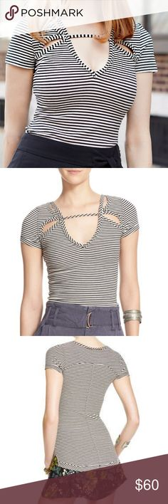 """Free People Frenchie Striped Cutout T-Shirt New with tags. Free People Frenchie Striped Cutout T-Shirt in cream combo with black. Size Large. Length: about 26"""". Very stretchy and form fitting. 47% Cotton, 45% Rayon, 8% Spandex. Free People Tops Tees - Short Sleeve"""